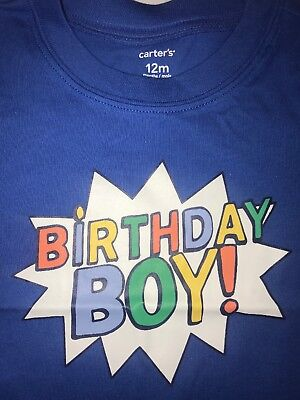 Carter's $12 First Bday T-Shirt 12m 1st Birthday Party Tee Cotton Baby Boys - Baby First Bday