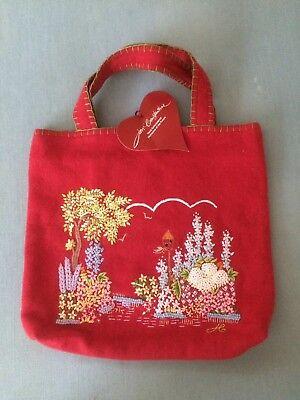 Jan Constantine Red Embroidered Handbag BNWT
