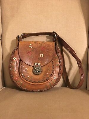 Vintage Leather Hippy Purse From The 60's !!! - Hippie From The 60s