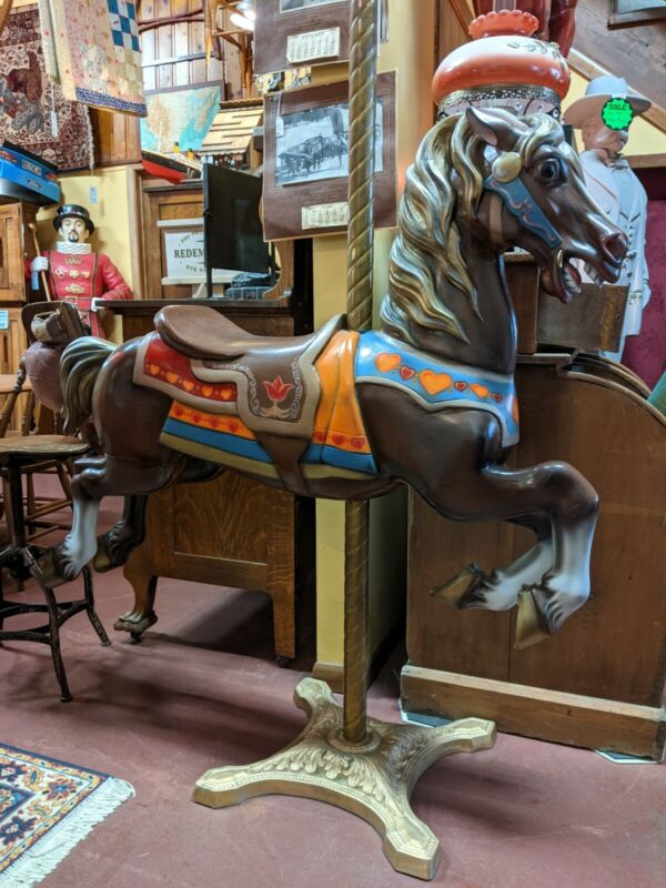 "Vintage Original CAROUSEL HORSE Merry Go Round Hand Painted 69"" Brass Cast Iron"