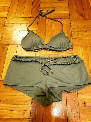 New H&M Drawstring Olive Green Bikini Top Boy Short Bathing Suit Large 12 - 14