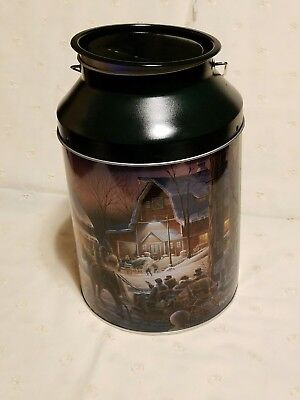 """Christmas Holiday """"Milk Can"""" Cookie Tin"""