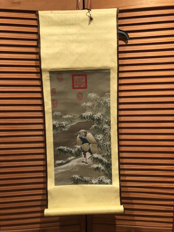 "Chinese Tapestry ""Fishing On A Snowy Day"""