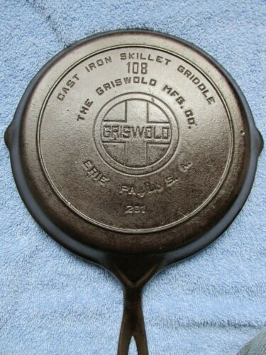 *RARE * GRISWOLD Cast Iron GRIDDLE 108 -201 LARGE LOGO / Heat Ring