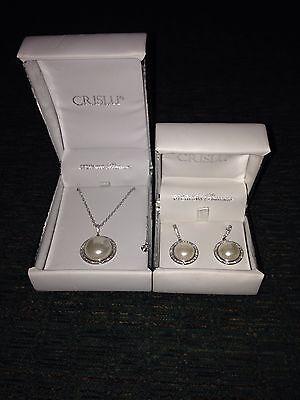 Crislu Sterling Platinum Pearl Earrings and Necklace Set Crislu Drop Necklace