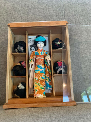 Vintage Japanese Geisha Doll in Shadow Box with 6 traditional wigs Katsura
