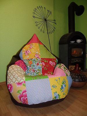 Sitzsack XXXL von Lux 430 L Lederoptik braun Patchwork Vintage für die über1,80m