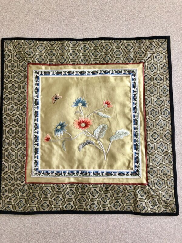 "Vintage Oriental Silk Embroidery Applique Wall Art Table Dressing 10 1/2"" Square"
