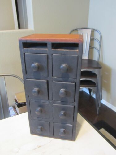 Vintage Apothecary Spice 8 Drawer Cabinet Box Handmade Wood Painted Black