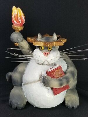 "RARE VTG 1998 Bob Stebleton Cagey Critters ""Liberty Kitty"" Fat Cat Figurine, NWT"