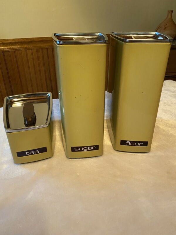 Mid Century Lincoln Beautyware Metal 3 pc Canister Set Yellow  Vintage