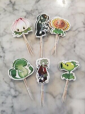 Plants vs. Zombies Cupcake Toppers Picks Kids Birthday Party Supplies 24pc Large