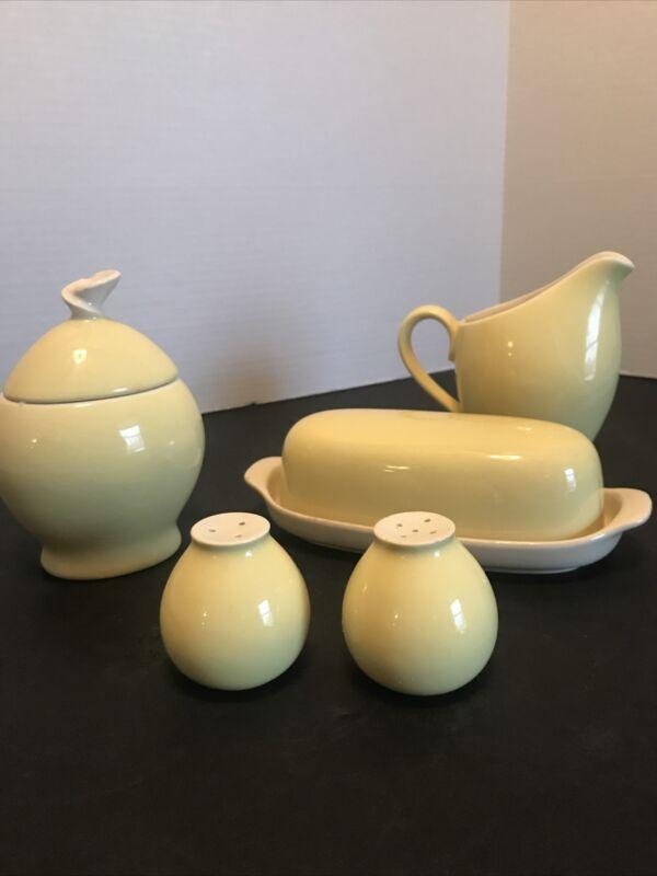 Vintage MCM Harkerware Yellow Pottery Six Piece Set