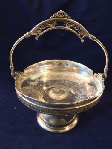 """Derby Silver Co. Quadruple Plate Fruit Basket 11"""" Tall and 9"""" Wide"""