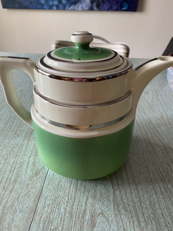 Mid century Hall Green Stripe Tea Pot
