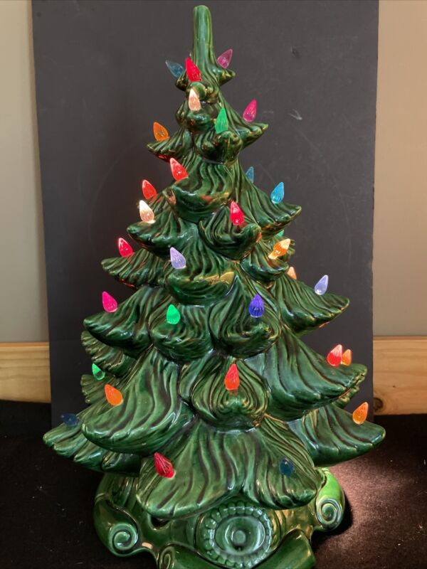 """Vintage 17"""" Green Ceramic Christmas Tree Chipped Lighted"""
