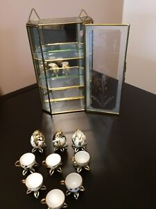 Rare Vintage Miniature Egg Tea Cups & Glass Case