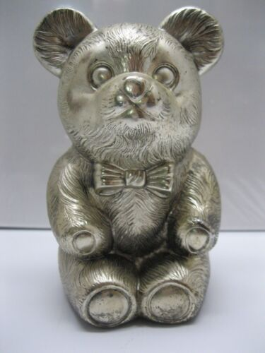 Vintage Silver Plated Bear Coin Bank With Plug