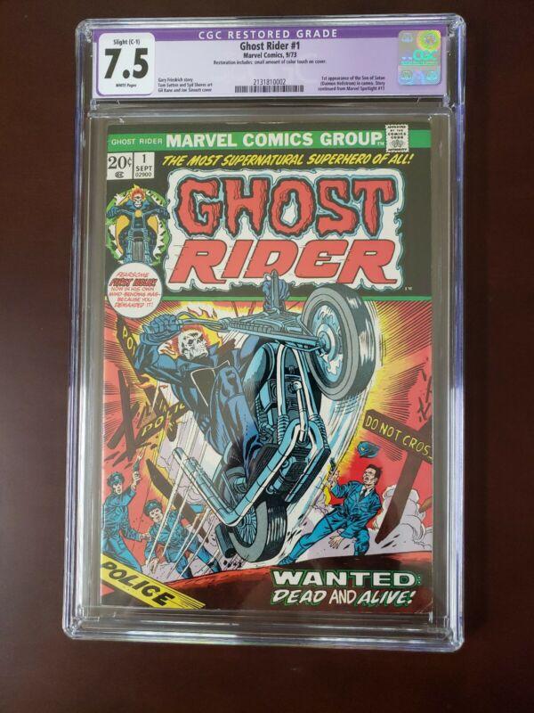 Ghost Rider #1 CGC 7.5 WHITE (1973) ~ 1st app Son Of Satan (Daimon Hellstrom)