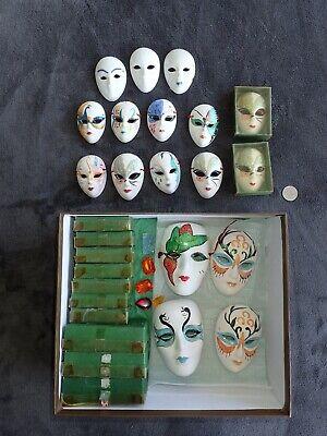 Lot of 27 Theater/Mardi Gras/Ceramic/Clay Face Masks Decorative Hanging Wall Art