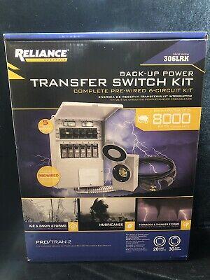 Reliance 306lrk Back-up Transfer Switch 6 Curcuit Kit 8000 Watt