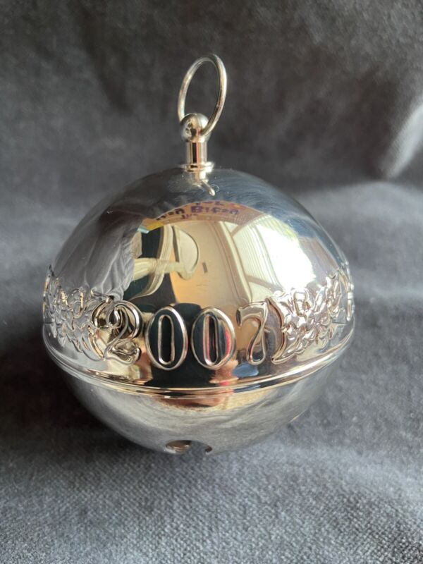 Rare 2007 Wallace Annual Silver Plate Sleigh Bell 37th Ed. Christmas Ornament