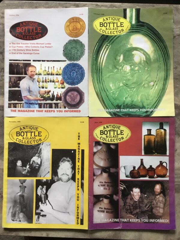 Lot Of 4- Antique Bottle & Glass Collector Magazines 2@1998-95-94