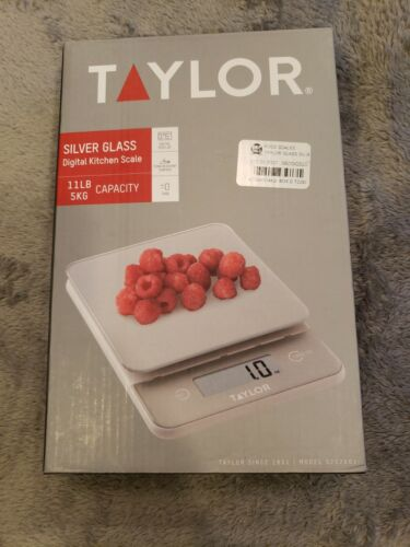 Taylor Silver Glass Digital Kitchen Scale 11 LB 5 KG Capacit