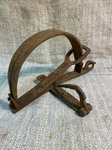 Vintage antique hand forged iron mouse animal rabbit trap