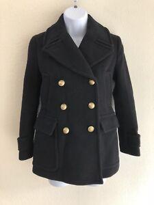 J Crew womens Majesty Stadium Cloth Peacoat 0P Petite Coat Black Nello Gori Q27
