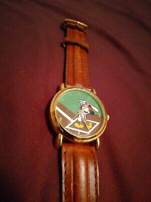 Vintage Disney Mickey Mouse Baseball Watch, Leather Band Untested Needs Battery