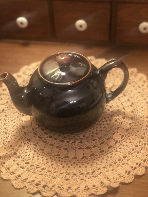 Vintage Sadler Dark Brown Betty Style Glossy Teapot England Collectible