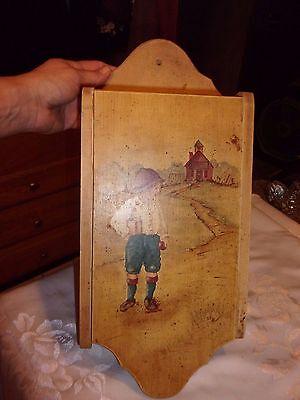 Vintage wood wall mount mail paperwork holder schoolboy design organizer -LOTNAT
