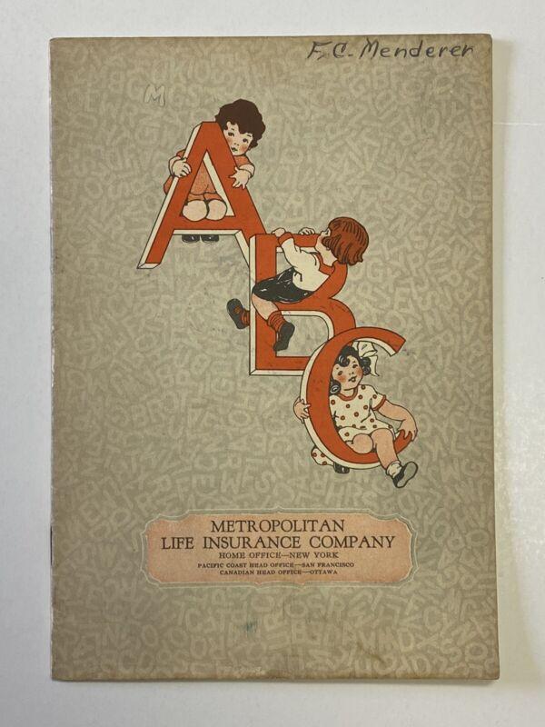 Vintage 1930s ABC Coloring Book Metropolitan Life Insurance Co. UNUSED
