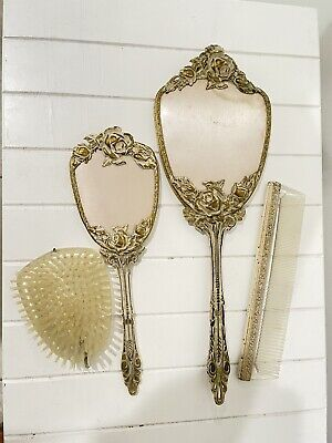 Vintage Vanity Set Handheld Mirror Brush Comb White Gold Tone Floral Rose