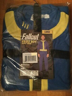 Fallout Vault Boy Adult Onsie Pajamas Costume Official Bethesda Vault 111 Large](Fallout Vault Boy Costume)