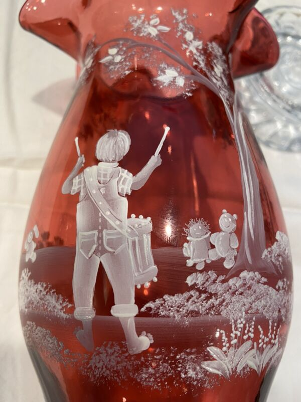 Fenton Glass Cranberry Hurricane Candle Holder, Painted By B. Pezzoni