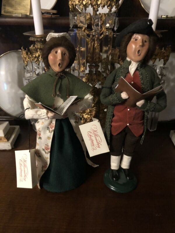 Byers Choice Caroler Pair Williamsburg collection husband and wife Caroling 1998