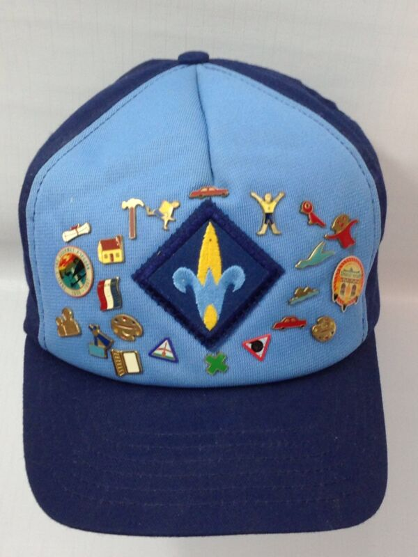 Vintage Webelos Boy Scouts Hat With 22 Pins - 1980s - Made In USA - Size M/LG
