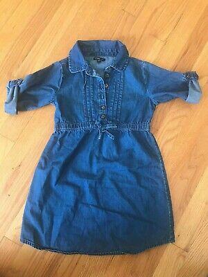 Gap Girls Blue Denim 3/4 Sleeve Shirt Dress Size: 5T