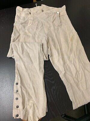"""18th Century Linen Gaitered Trouser - Rev War Colonial, 37""""+ Waist, Handworked"""