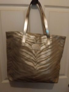 Michael Kors Zebra Print Metallic Gold Tote Bag
