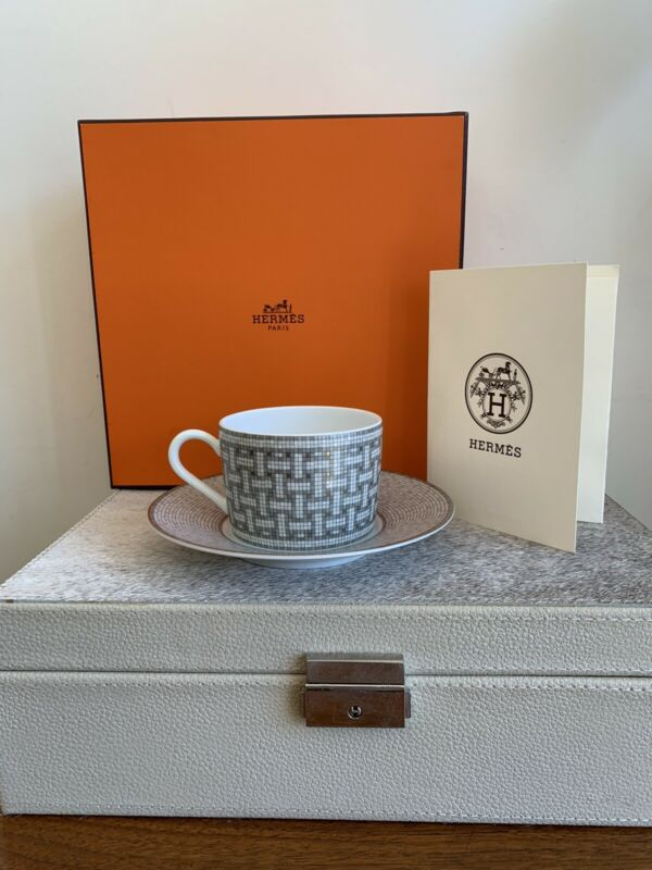 Auth. Hermes Silver Mosaic Small Cup And Saucer