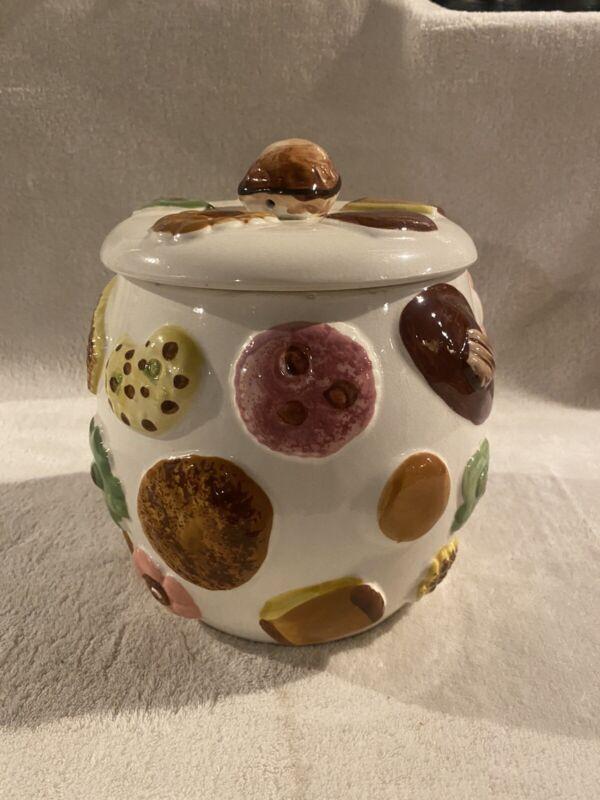 """Vintage Napco """"Cookies All Over""""Cookie Jar Largest Jar, Walnut Knob on Lid 1950s"""