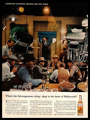 1961 Schweppes Quinine Gin & Tonic Water Soda Western Movie Set Vintage Print Ad