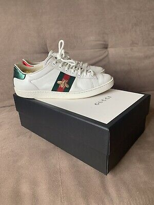 Womens 37.5 Uk 4.5, 5.5 6 Gucci Ace Embroided Sneaker Designer Trainers Leather