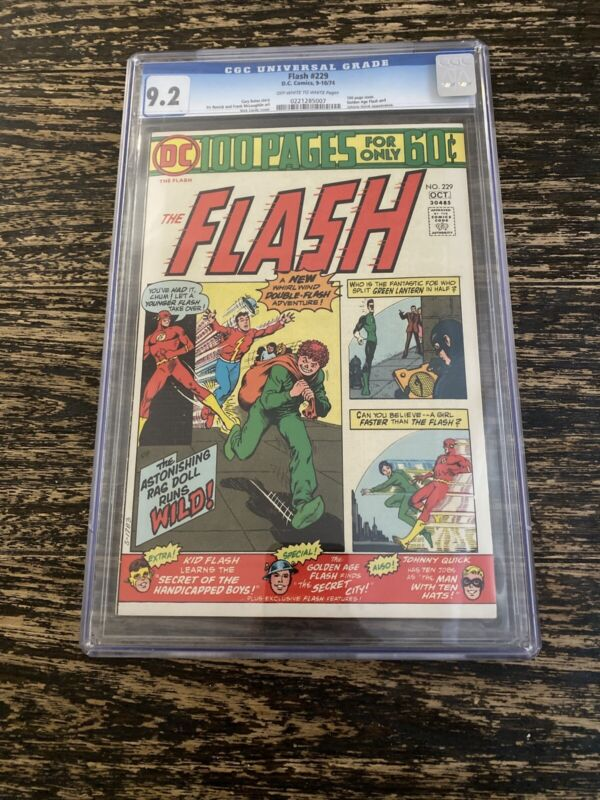 Flash 229 DC Comics CGC 9.2 W White 100 pages Golden Age Flash, Johnny Quick app