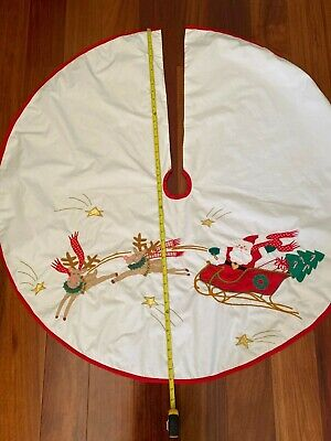 "Vintage 43"" House Of Hatten Christmas Tree Skirt Santa with sleigh"