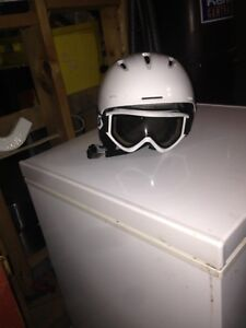 White helmet and goggles