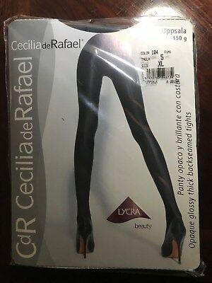 Cecilia de Rafael Uppsala Satin GLOSSY OPAQUE Pantyhose Tights XL FUMO gray